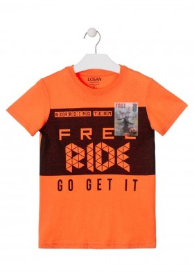 camiseta de manga corta con print de LOSAN para niño modelo 013-1015AL