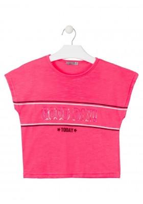 camiseta manga corta con estampado de LOSAN para niña modelo 014-1010AL