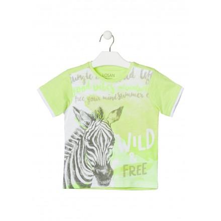 camiseta de manga corta con print de LOSAN para niño modelo 015-1011AL