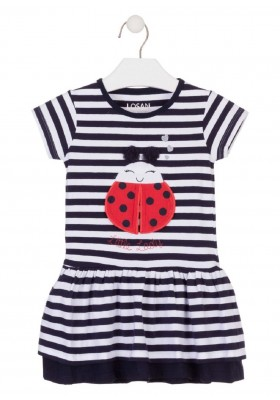 vestido manga corta con estampado de LOSAN para niña modelo 016-7004AL