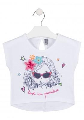 camiseta manga corta con estmapado de LOSAN para niña modelo 016-1011AL
