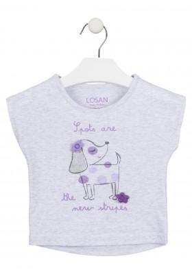 camiseta manga corta con estampado de LOSAN para niña modelo 016-1014AL
