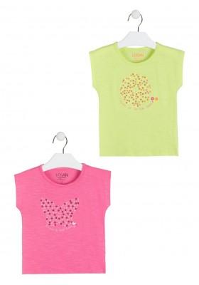 camiseta manga corta con lentejuelas de LOSAN para niña modelo 016-1207AL