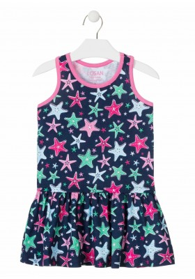 vestido sin mangas todo estampado de LOSAN para niña modelo 016-7047AL