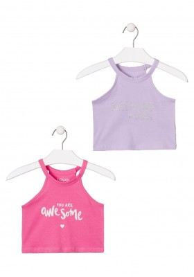 camiseta sin mangas con print de LOSAN para niña modelo 014-1211AL