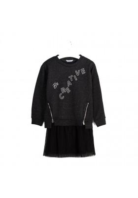 Vestido invierno combinado felpa tul Niña de Mayoral modelo 7965