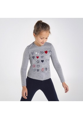 Camiseta manga larga corazones Niña de Mayoral modelo 7073