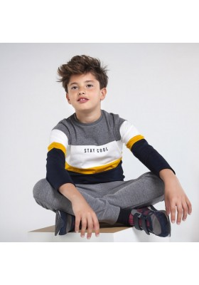 Camiseta manga larga sporty bloques Niño de Mayoral modelo 7056