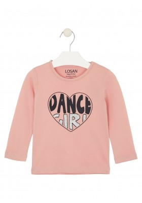 camiseta de manga larga con printde Losan para niña modelo 026-1632AL