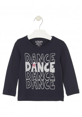 camiseta de manga larga con printde Losan para niña modelo 026-1631AL