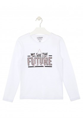 camiseta manga larga con print delanterode Losan para niña modelo 024-1632AL