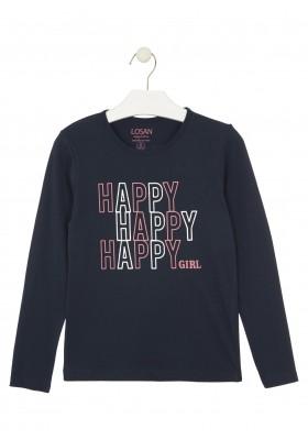 camiseta de manga larga con printde Losan para niña modelo 024-1630AL