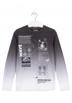 camiseta de manga larga con printde Losan para niño modelo 023-1004AL