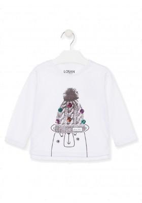camiseta de manga larga con printde Losan para niña modelo 026-1007AL