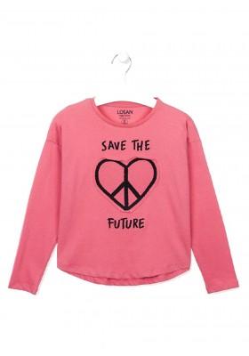 camiseta de manga larga con bordadode Losan para niña modelo 024-1006AL