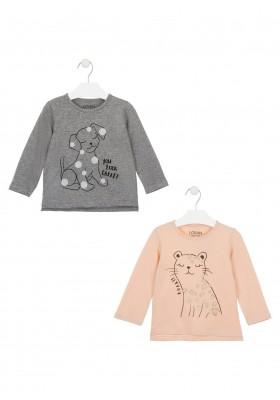 camiseta de manga larga con printde Losan para niña modelo 026-1203AL