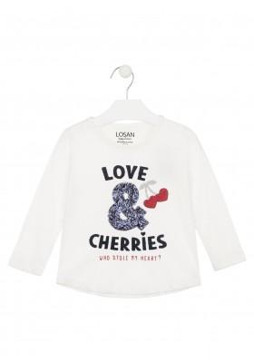 camiseta de manga larga con printde Losan para niña modelo 026-1022AL