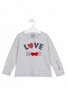 camiseta de manga larga con lentejuelasde Losan para niña modelo 026-1021AL