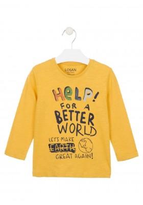camiseta manga larga con parchesde Losan para niño modelo 025-1005AL