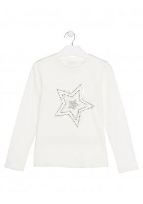 camiseta de manga larga con brillantitosde Losan para niña modelo 024-1023AL