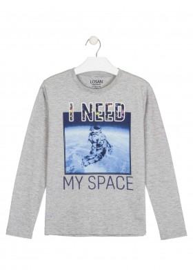camiseta de manga larga con printde Losan para niño modelo 023-1011AL