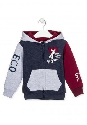 chaqueta en felpa perchada rayadade Losan para niño modelo 025-6011AL