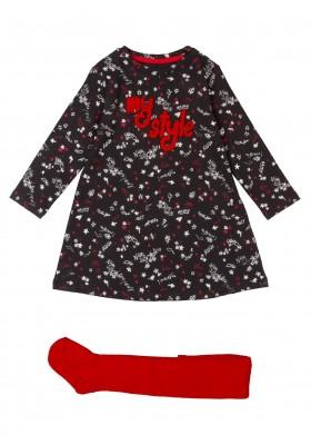 conjunto de vestido y leotardode Losan para niña modelo 026-8033AL