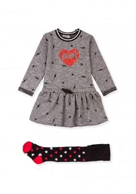 conjunto de vestido y leotardode Losan para niña modelo 026-8032AL
