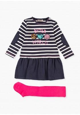 conjunto de vestido y leotardode Losan para niña modelo 026-8031AL