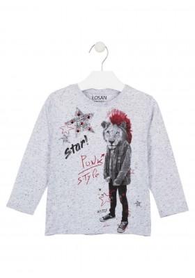 camiseta de manga larga con printde Losan para niño modelo 025-1002AL