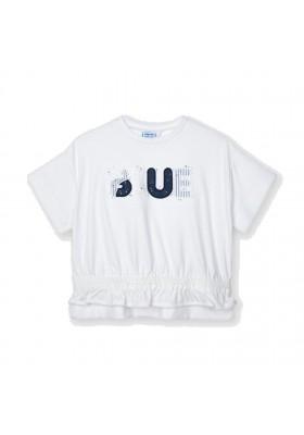 Camiseta manga corta aplique blue Mayoral para niña modelo 3010