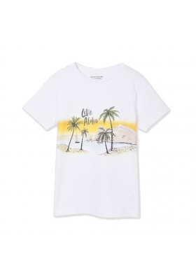 "Camiseta manga corta ""live aloha"" Mayoral para niño modelo 6077"