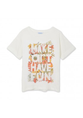 Camiseta manga corta letras hojas Mayoral para niña modelo 6013