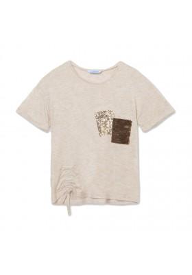 Camiseta bolsillo lentejuelas Mayoral para niña modelo 6011