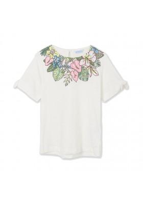 Camiseta manga corta hojas cuello Mayoral para niña modelo 6007