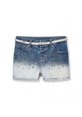 Pantalon corto tejano aplique Mayoral para niña modelo 3210