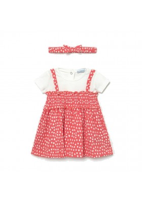 Vestido combinado topos Mayoral para bebe niña modelo 1985