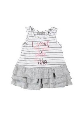 Vestido bebe niña BOBOLI gris y blanco