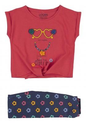 conjunto de camiseta y legging Losan para niña modelo 116-8007AL