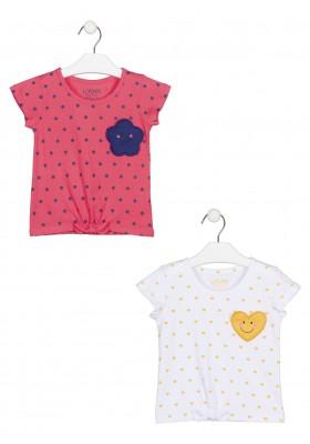 camiseta manga corta toda estampada Losan para niña modelo 116-1202AL