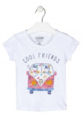camiseta de manga corta con print Losan para niña modelo 116-1006AL