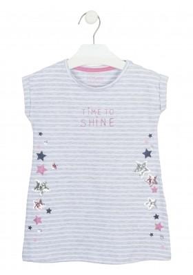 vestido manga corta con estampado Losan para niña modelo 116-7014AL
