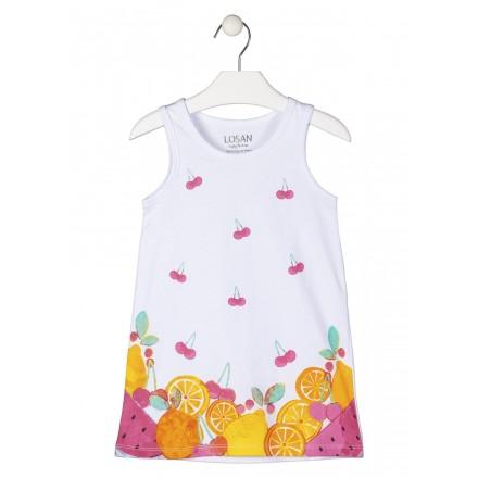 vestido sin mangas con print delanero Losan para niña modelo 116-7006AL