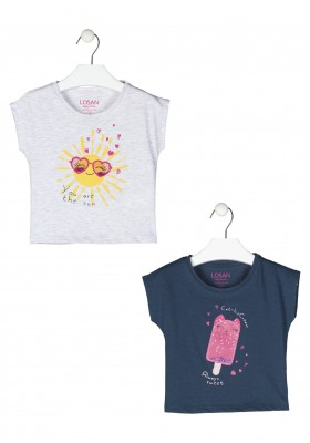 camiseta manga corta con estampado Losan para niña modelo 116-1201AL