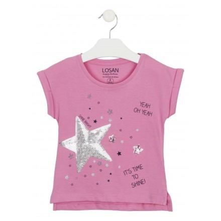 camiseta manga corta con estampado Losan para niña modelo 116-1023AL