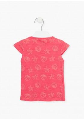 camiseta manga corta toda estampada Losan para niña modelo 116-1020AL