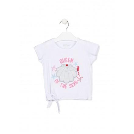 camiseta manga corta con estampado Losan para niña modelo 116-1019AL
