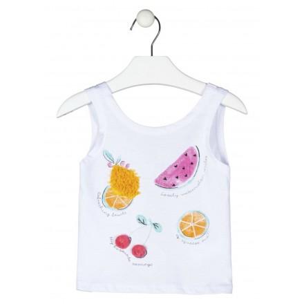 camiseta sin mangas con print Losan para niña modelo 116-1003AL