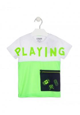 camiseta manga corta con bolsillo Losan para niño modelo 115-1007AL