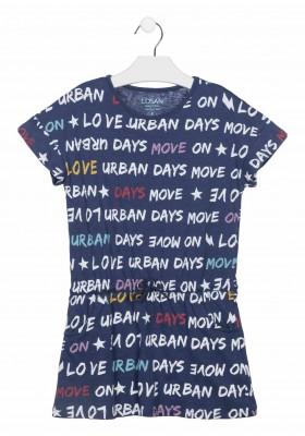 vestido manga corta estampado Losan para niña modelo 114-7014AL